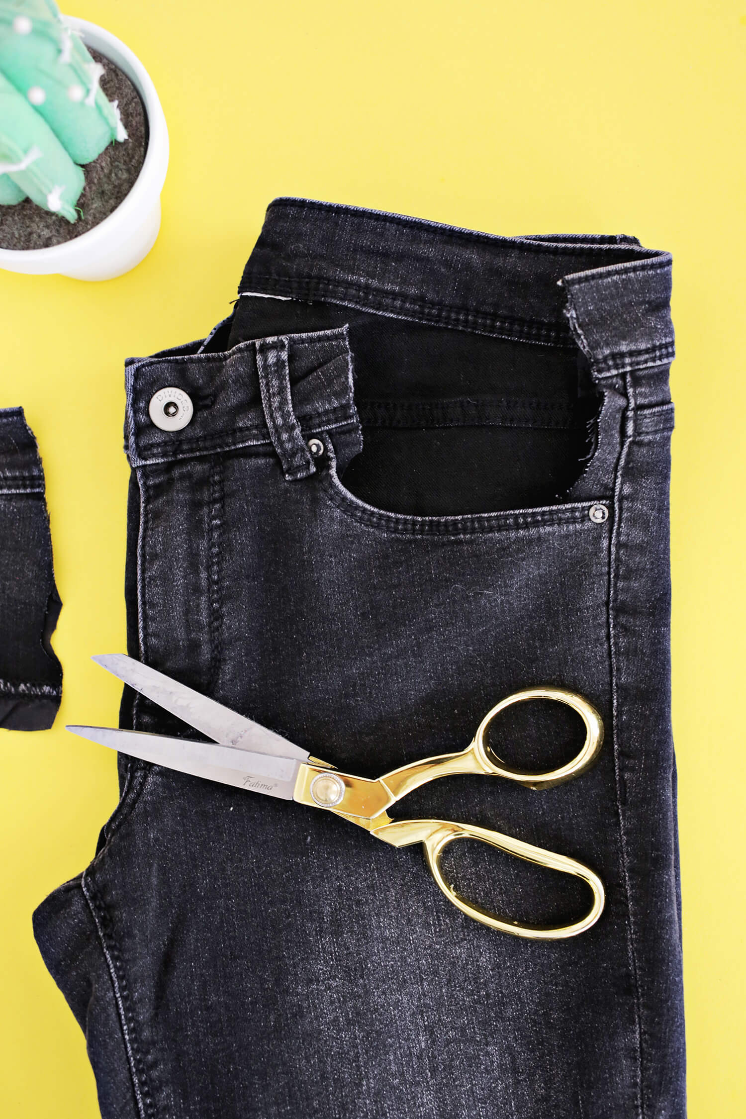 136b95e0eb8 This is what your cut will look like from the front of your jeans. The  waistband above the pocket is removed but the front layer of the pocket is  still in ...