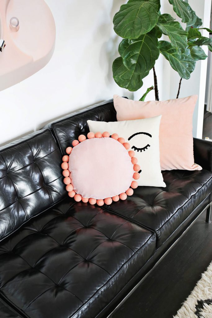 Round Felt Ball Pillow DIY - A Beautiful Mess