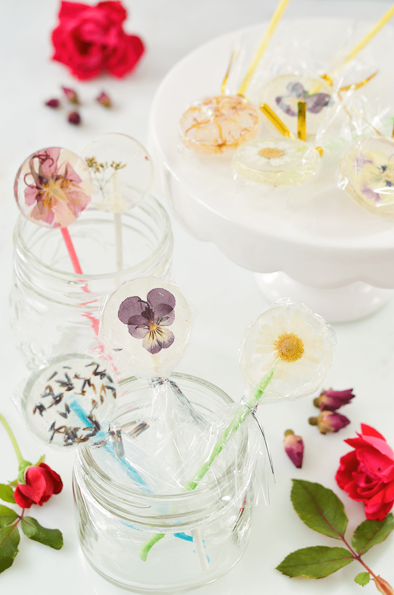Easy DIY Lollipops With Edible Flowers - A Beautiful Mess