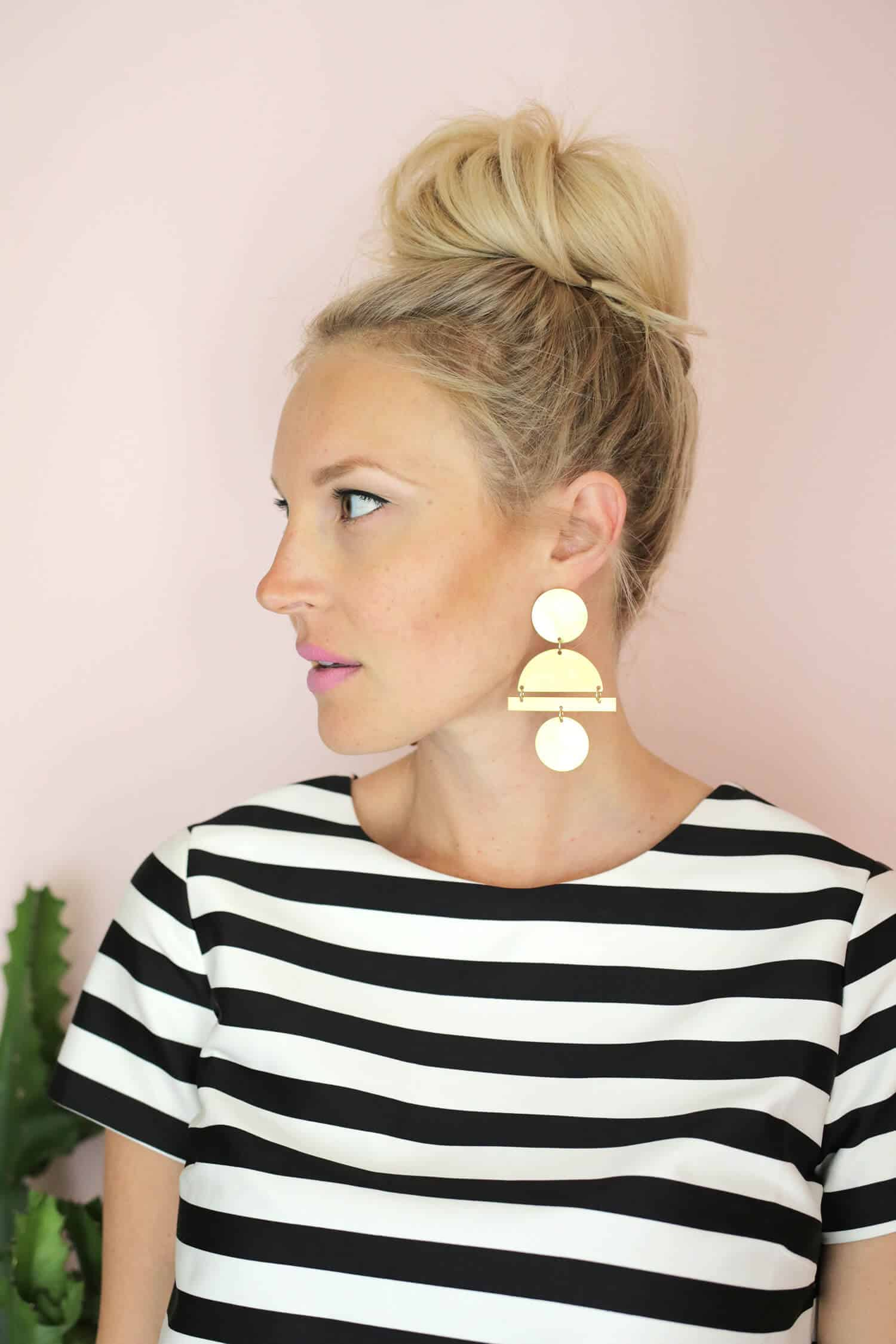 Geometric Gold Statement Earring DIY - A Beautiful Mess