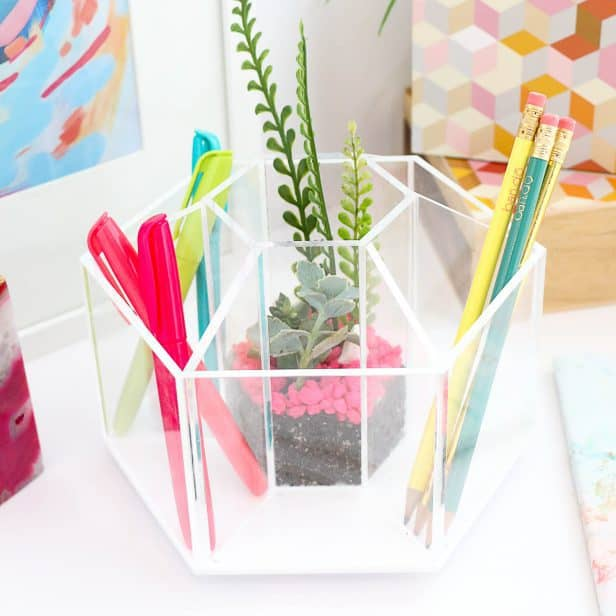 Make a terrarium desk organizer