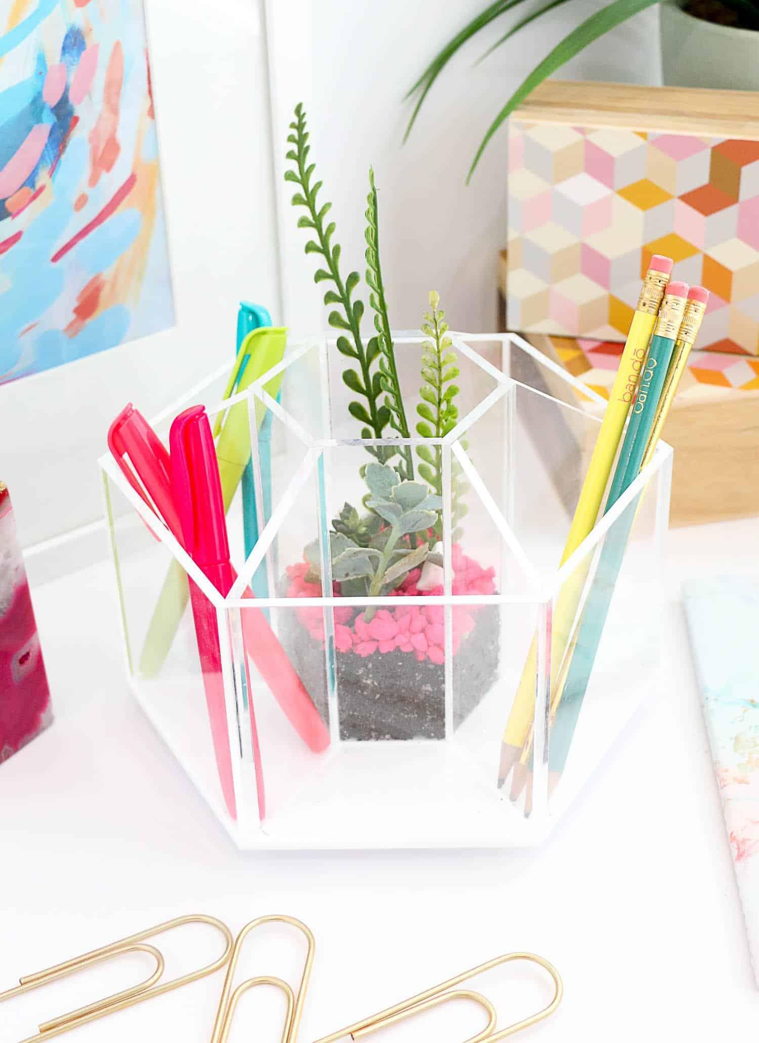 Make a terrarium desk organizer