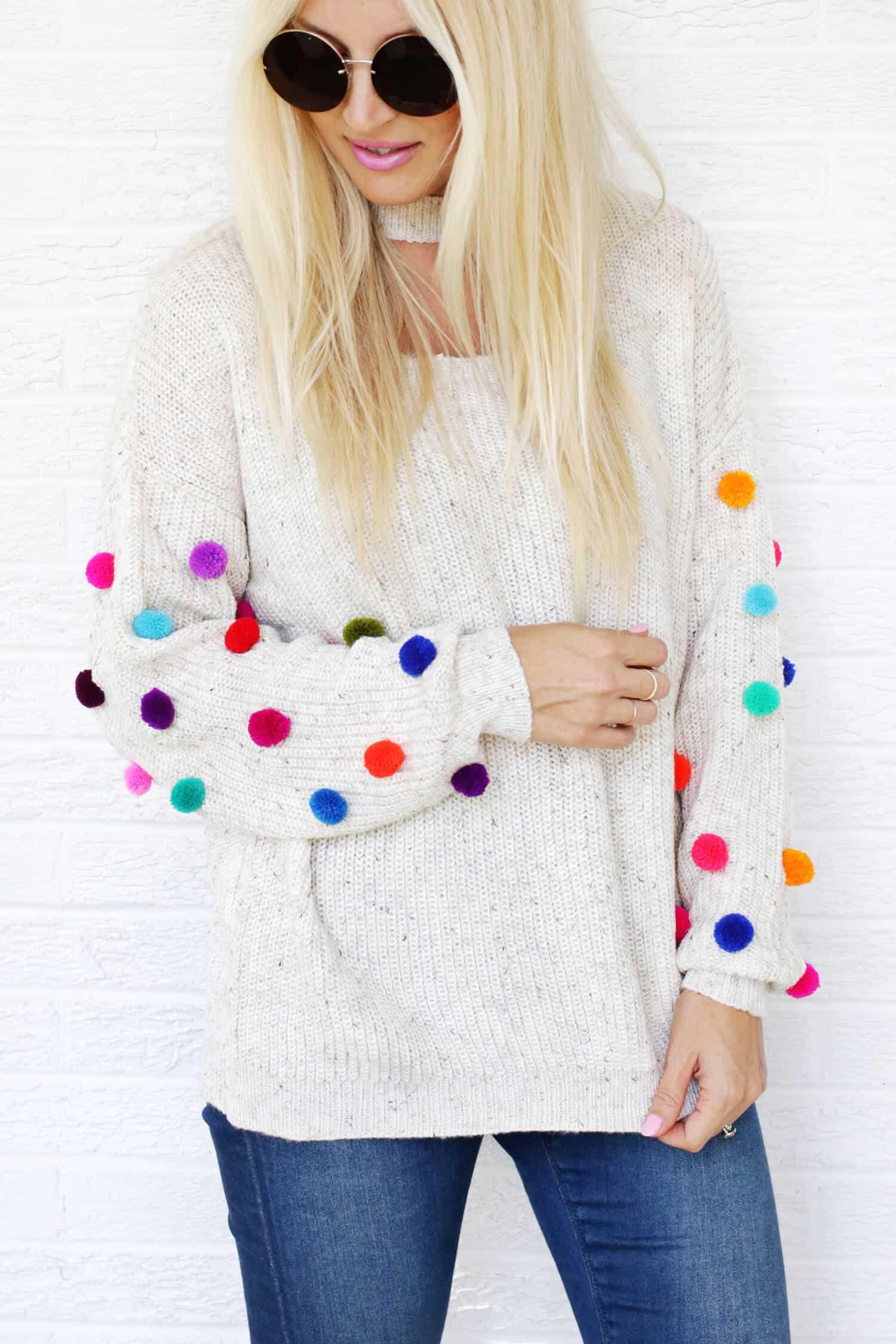 Pom Pom Sweater Diy A Beautiful Mess