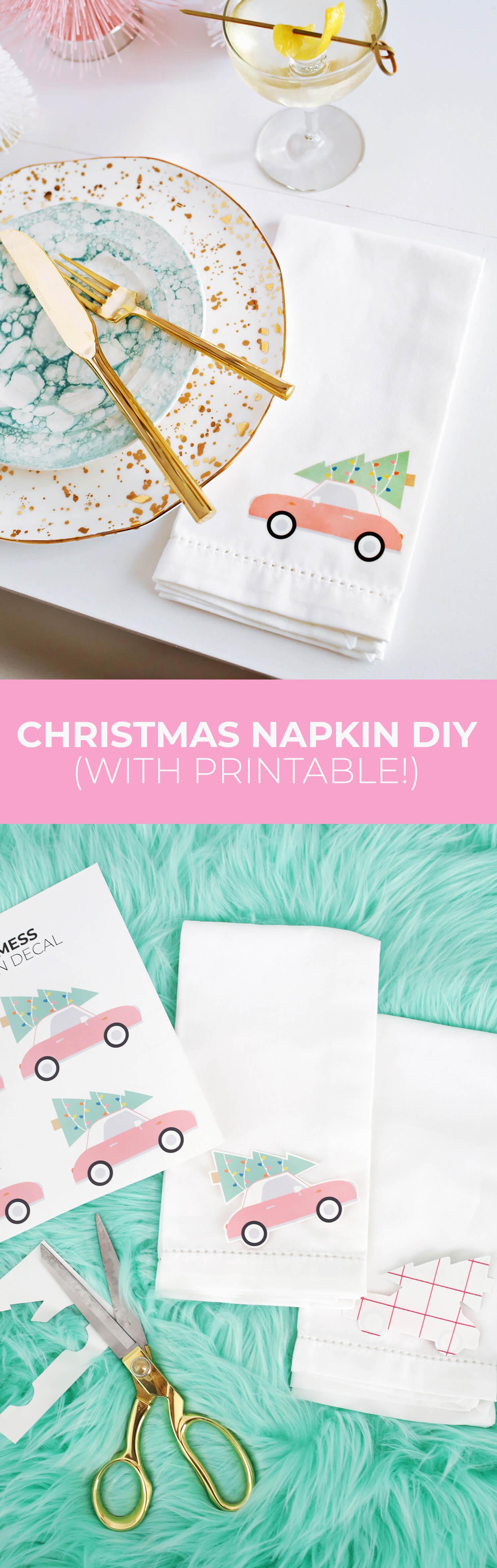 Christmas Napkin Iron On Diy With Printable A Beautiful Mess