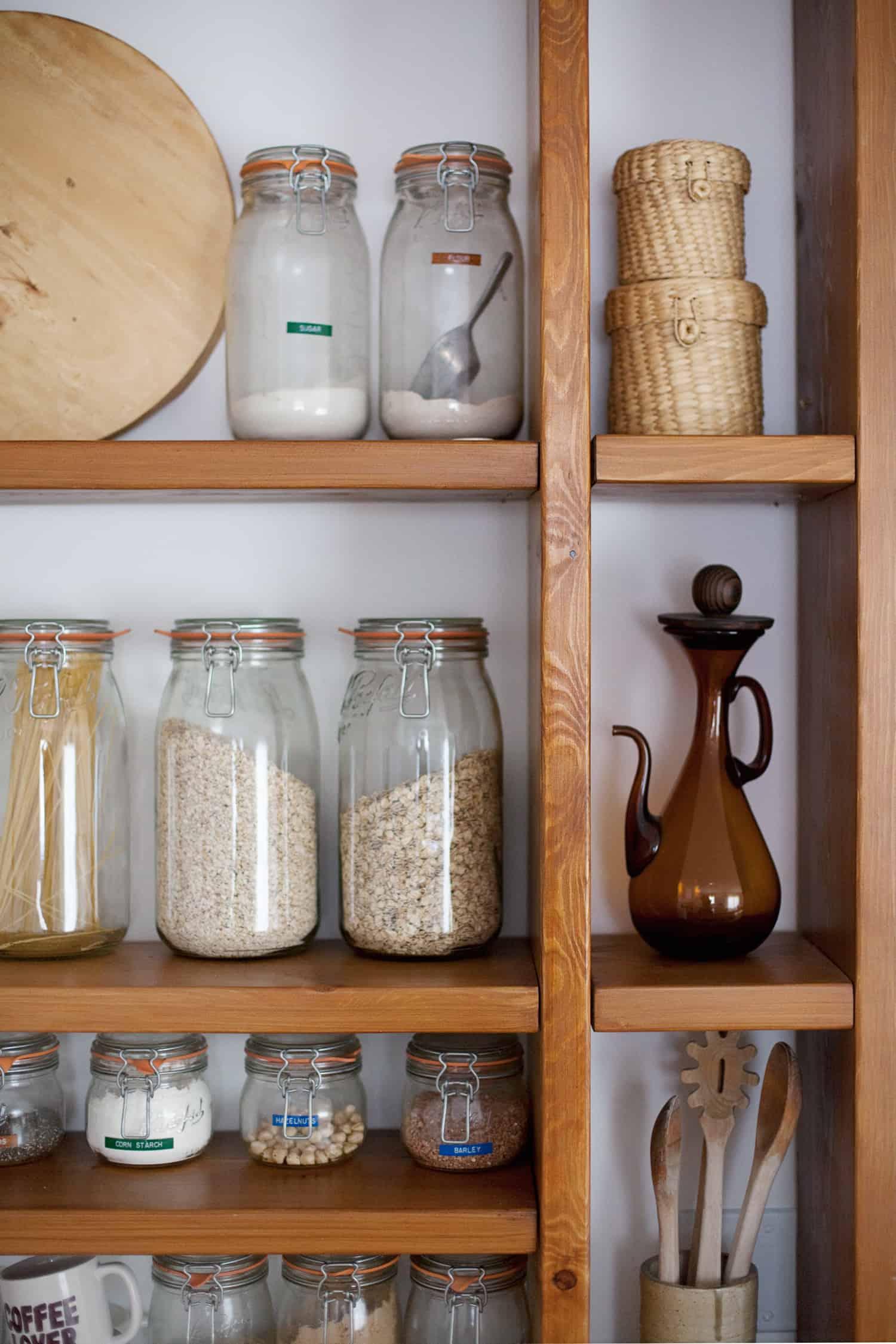 wood pantry shelving wall