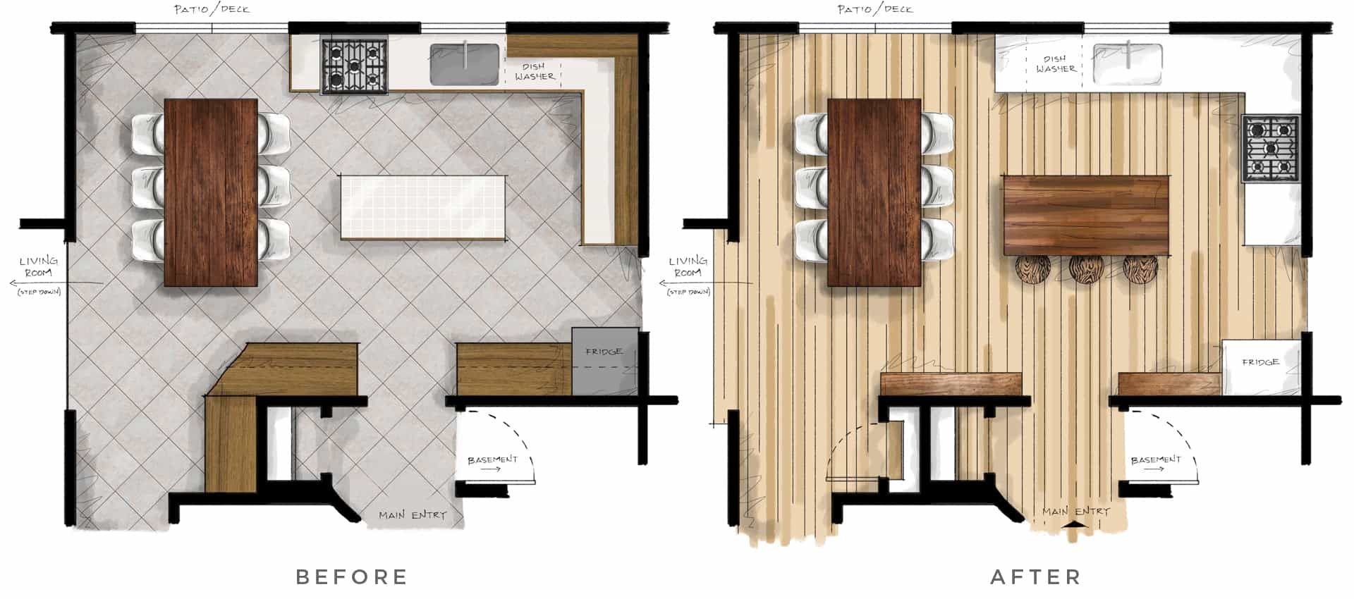 kitchen floor plan before and after