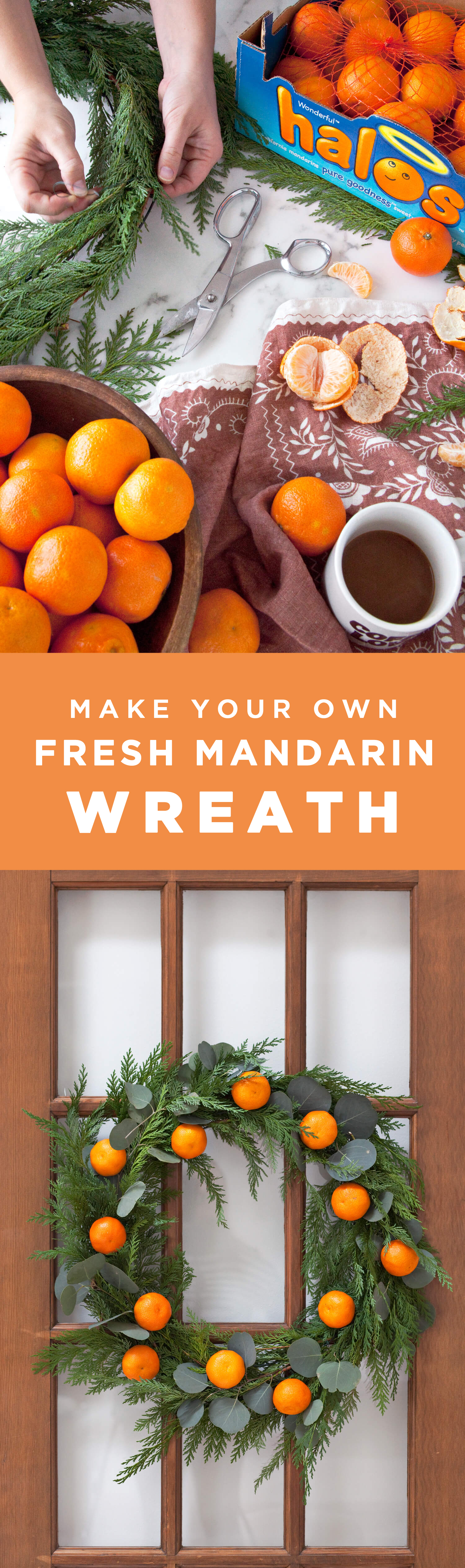 make your own fresh mandarin wreath