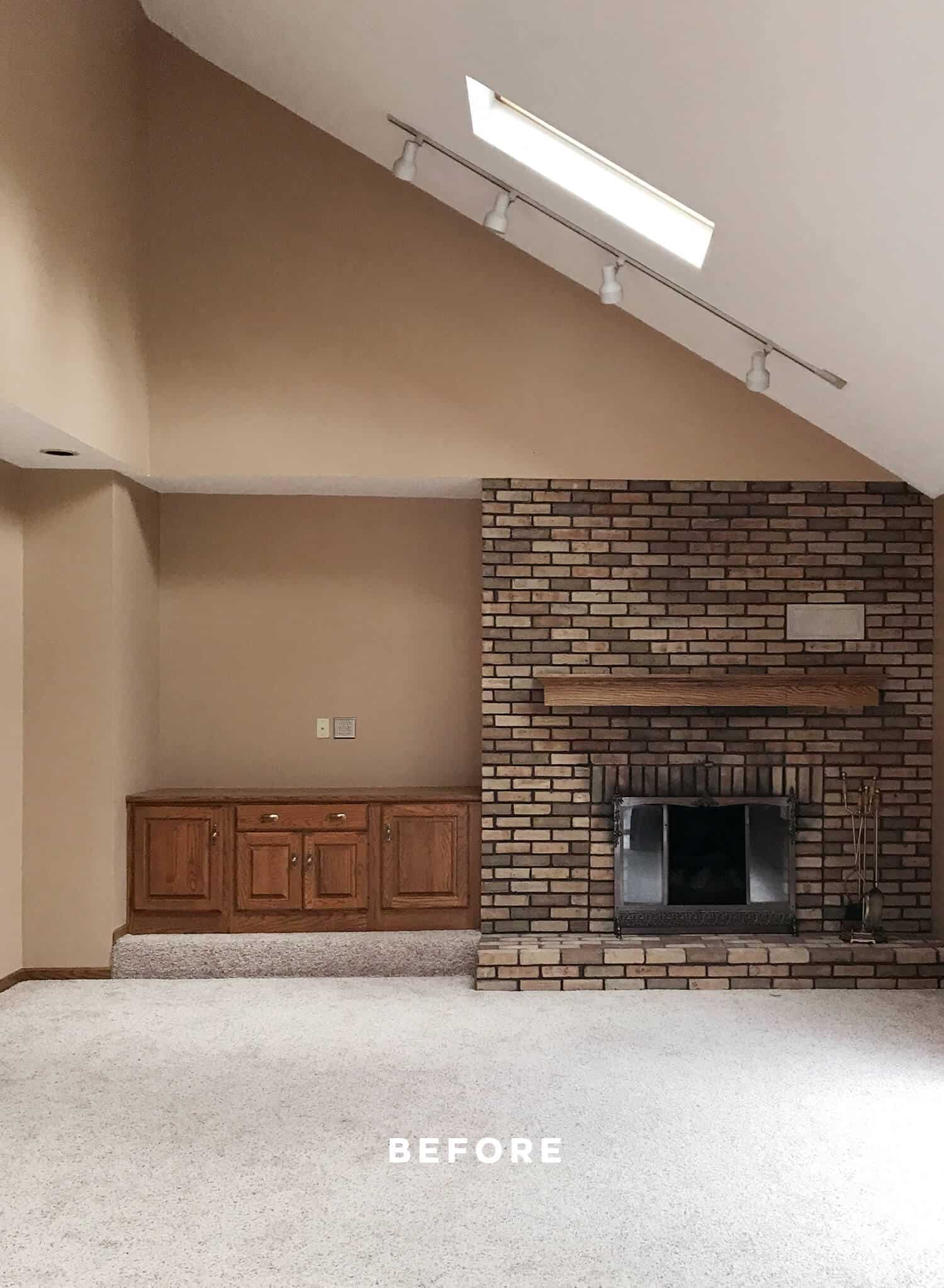 fireplace wall makeover before and after