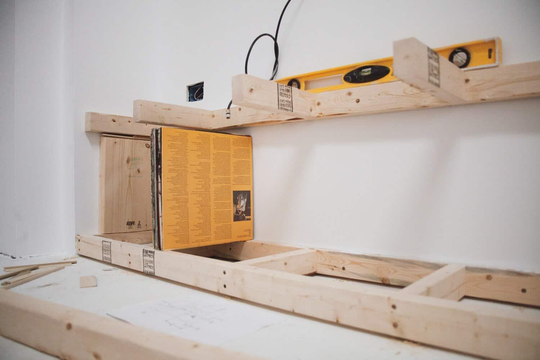 built-in nook shelving