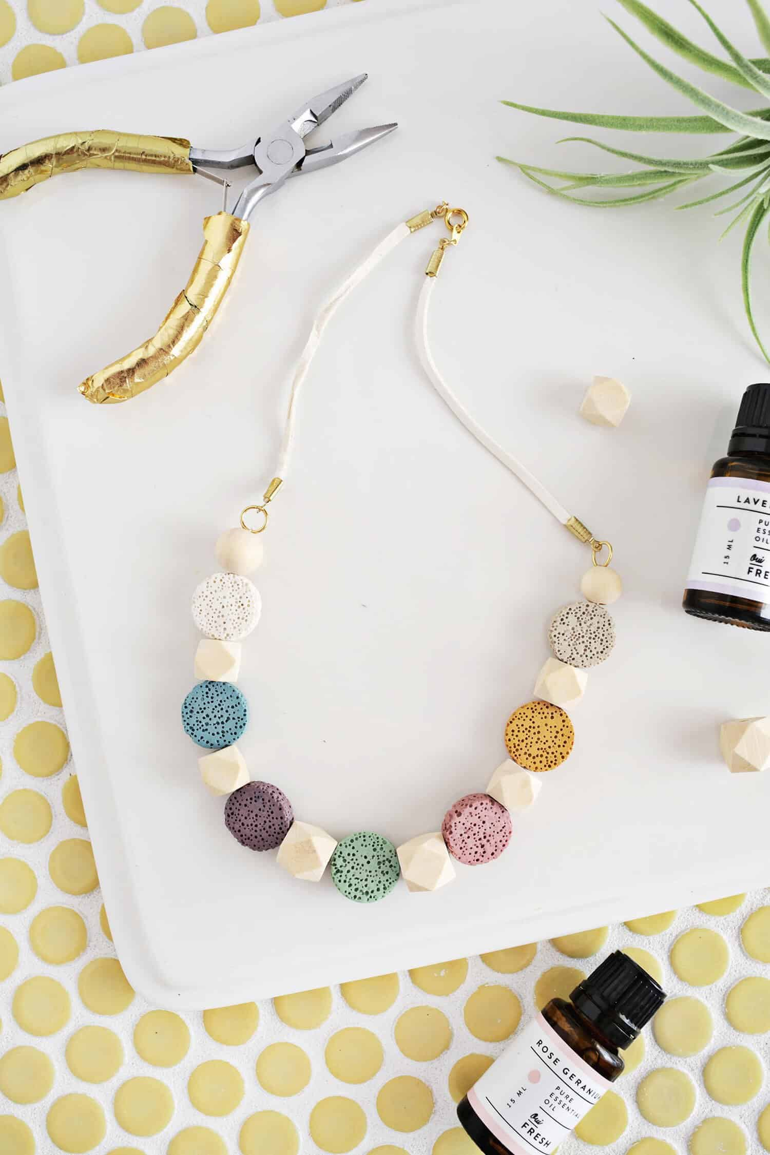 Lava Stone Necklace Diy For Essential Oils A Beautiful Mess
