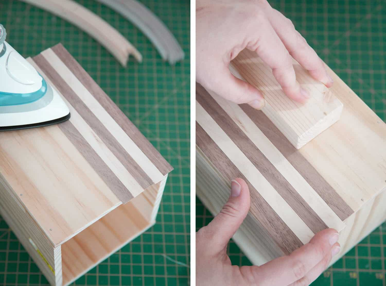 striped wood box