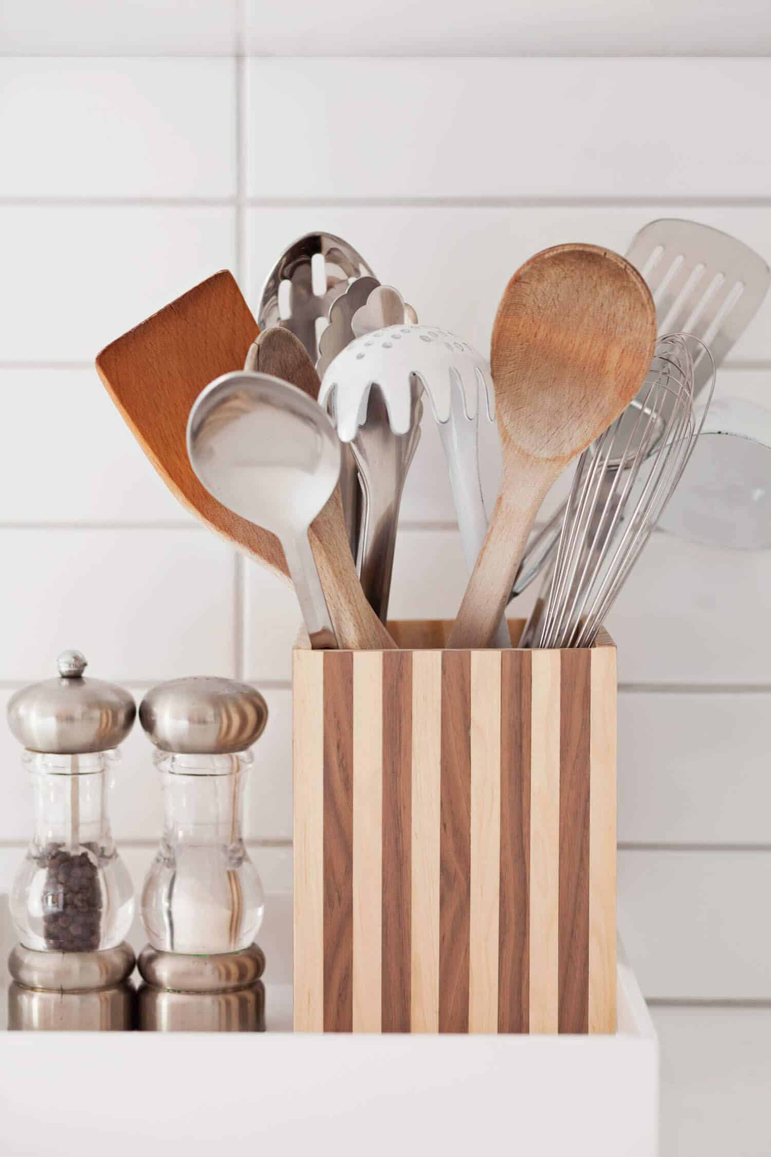 How to Make a Wood Striped Utensil Holder - A Beautiful Mess