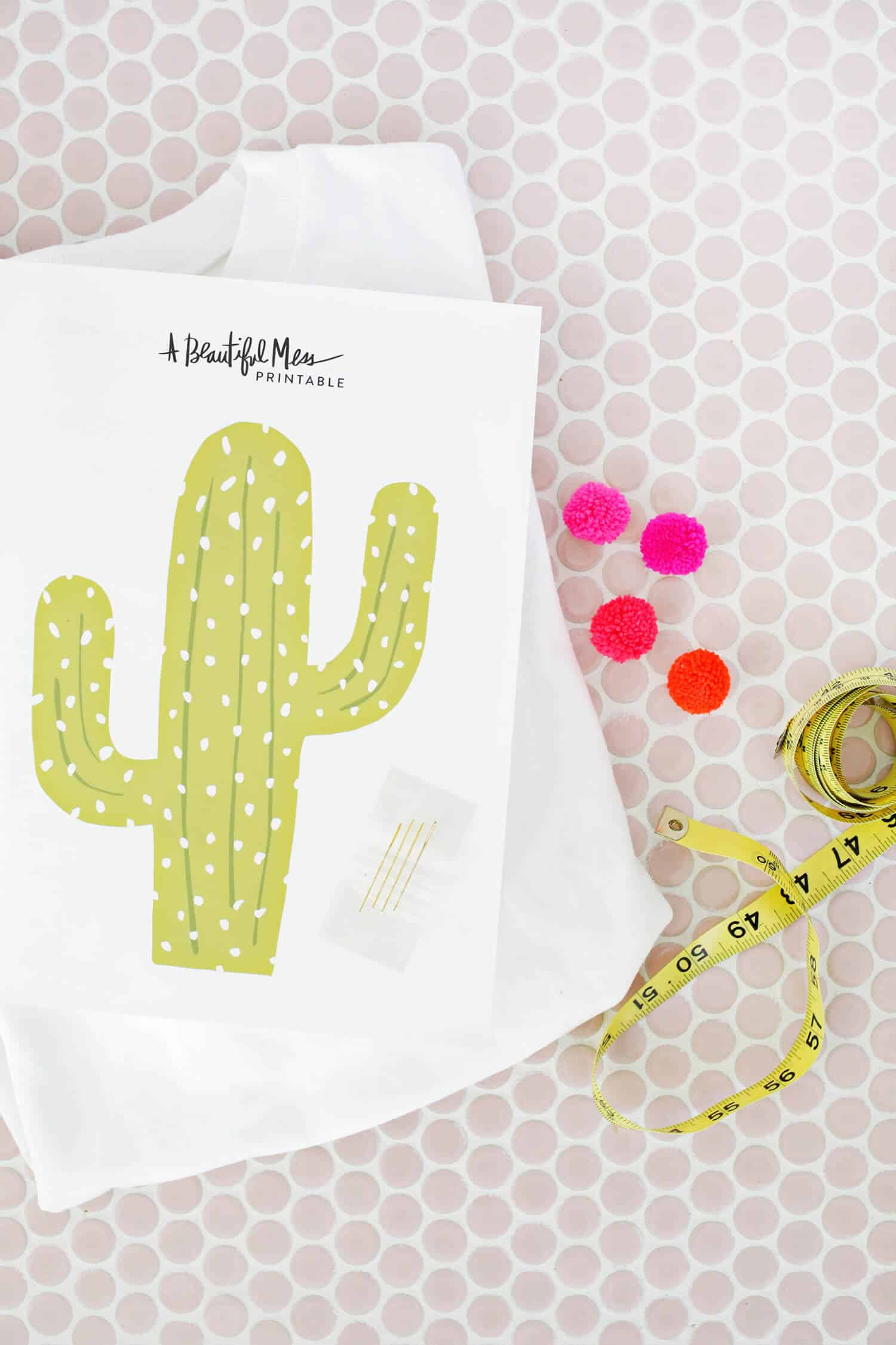 image regarding Cactus Printable titled Cactus Pom Pom Sweatshirt Do-it-yourself (With Printable!) - A