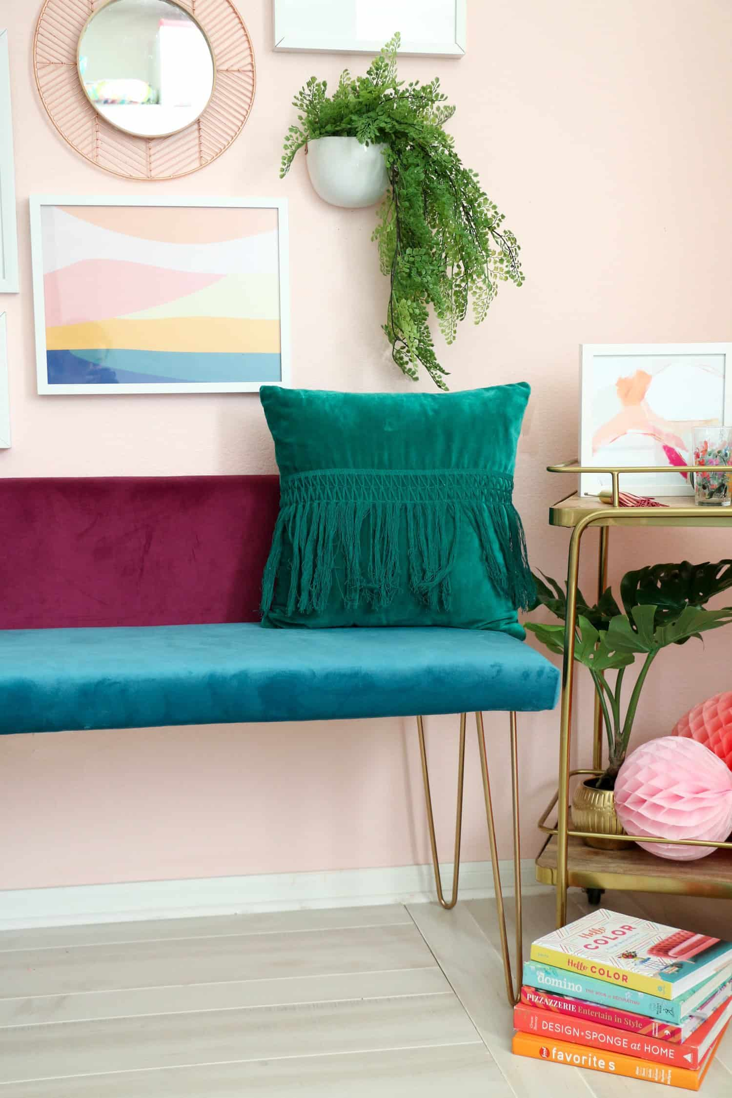 Diy Color Blocked Velvet Bench A Beautiful Mess