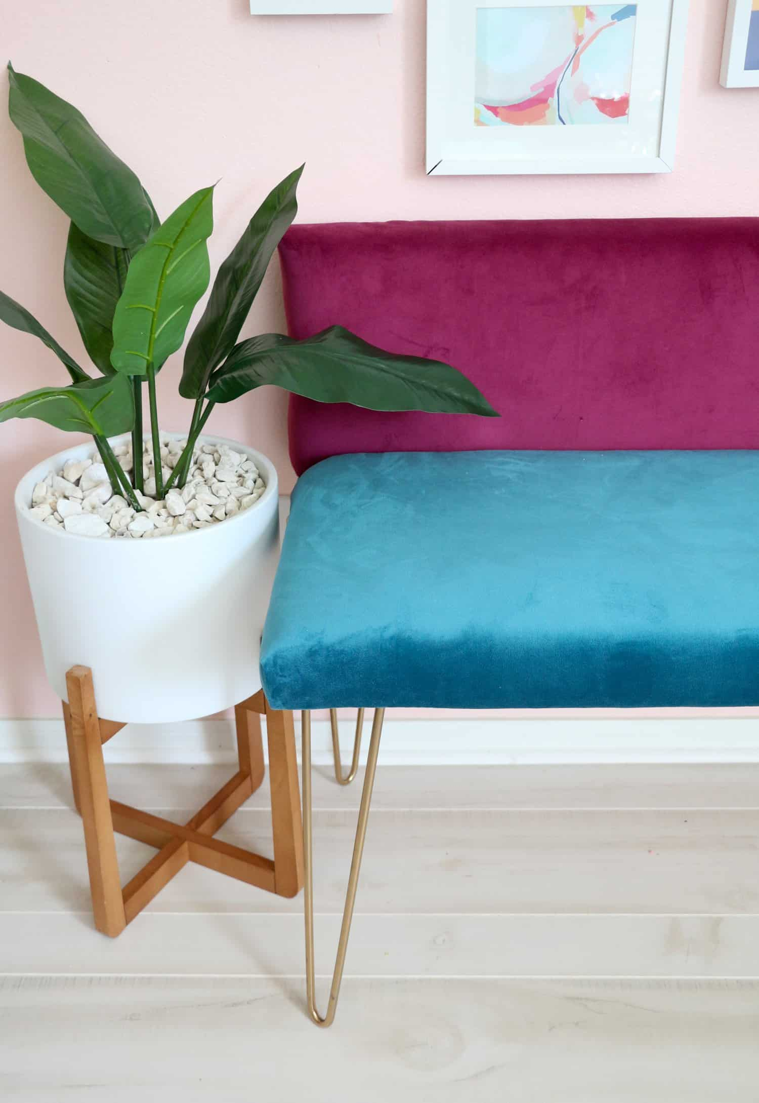 DIY Color Blocked Velvet Bench