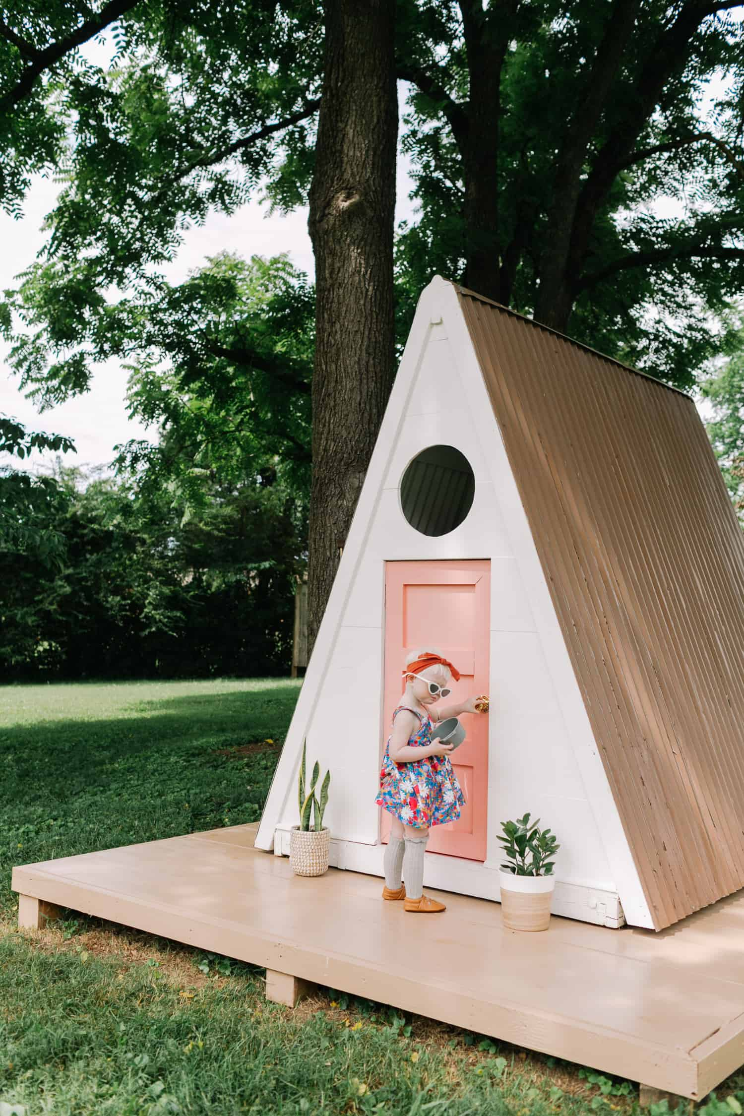 A-Frame Playhouse DIY - A Beautiful Mess on doghouse with porch plans, workshop with porch plans, cabin with porch plans, garage with porch plans, cottage with porch plans,