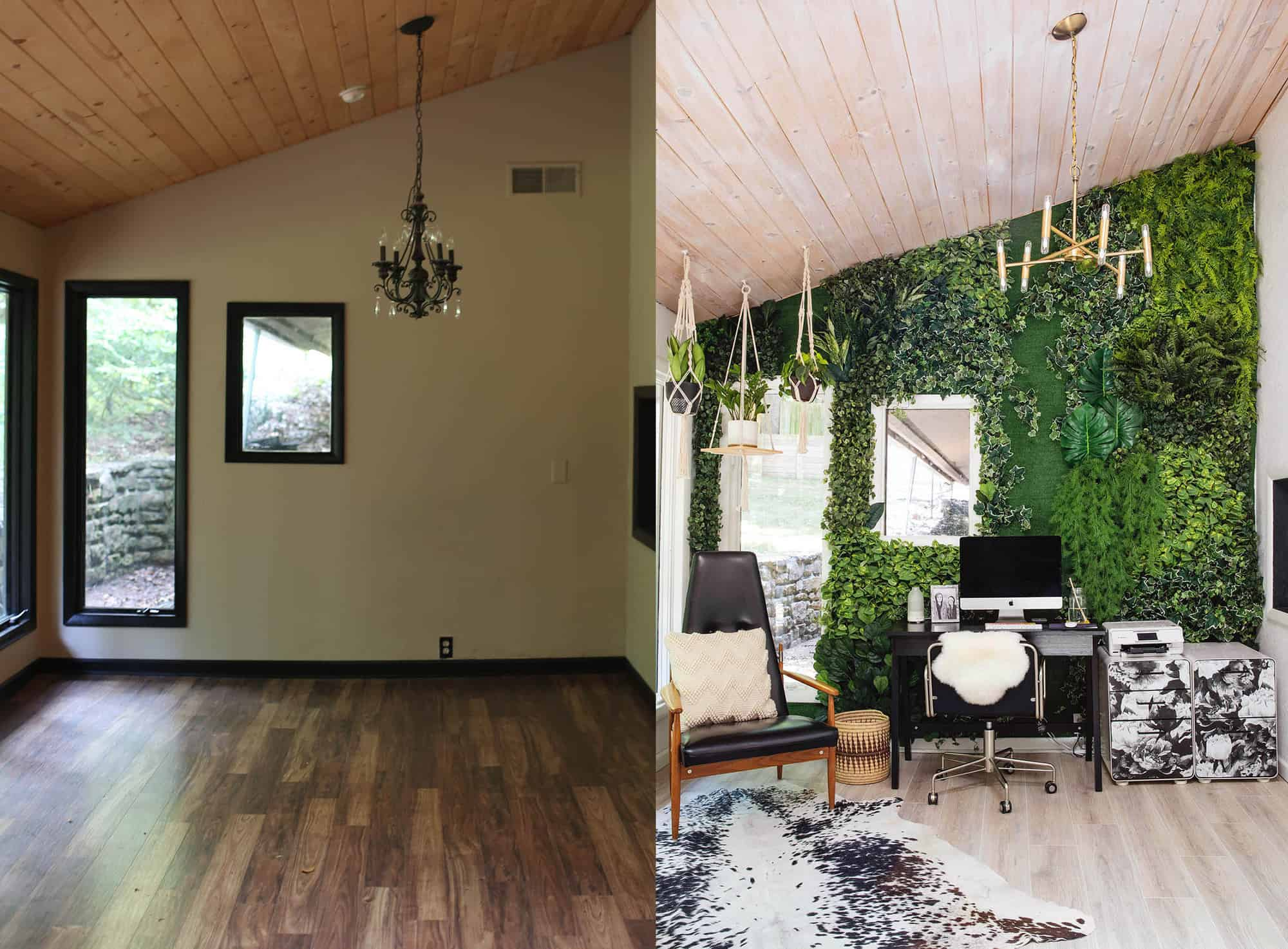 Here Is A Before And After Of This Room. Since Moving In, We Updated The  Floors And I Also Hand Stained The Ceilings To Lighten Up The Space  (throughout The ...