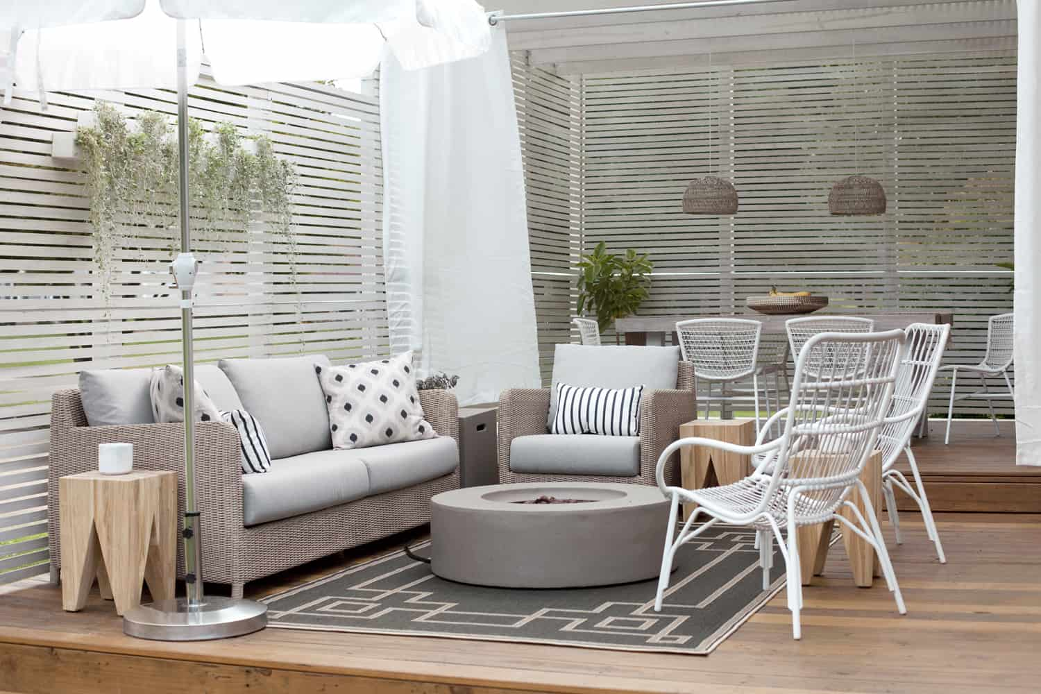outdoor living space after adding accessories
