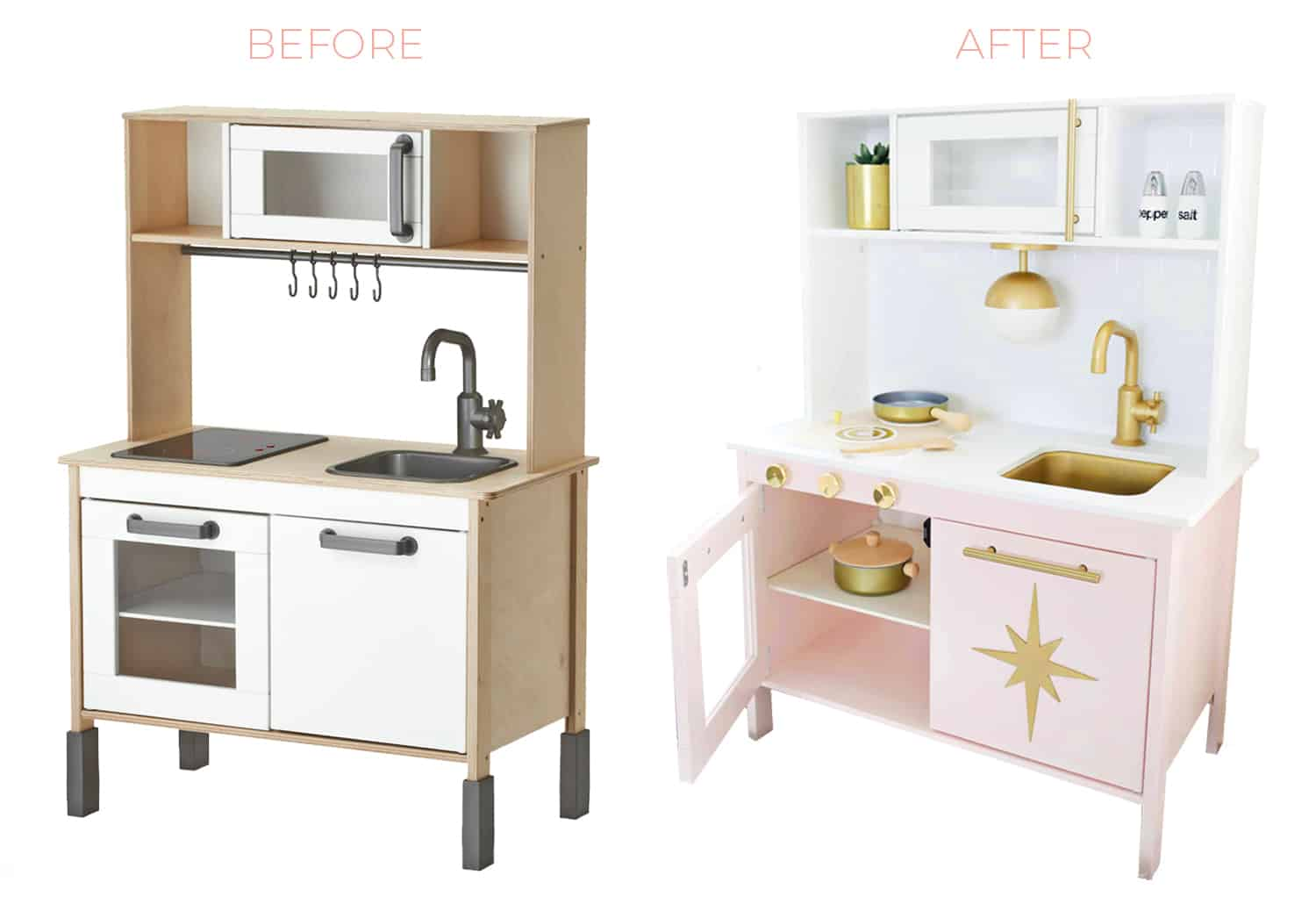 mid century modern ikea play kitchen hack a beautiful mess. Black Bedroom Furniture Sets. Home Design Ideas