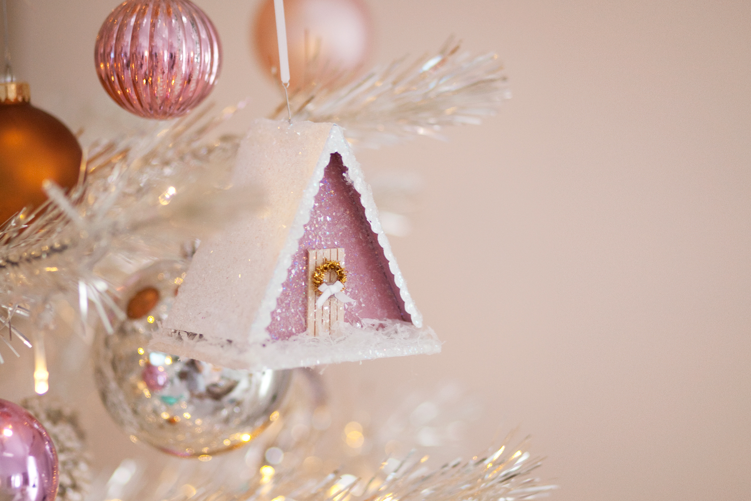 make an a-frame cabin ornament