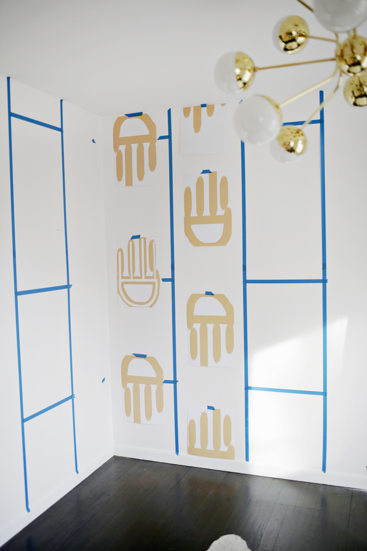 Geometric Painted Wallpaper Diy A Beautiful Mess