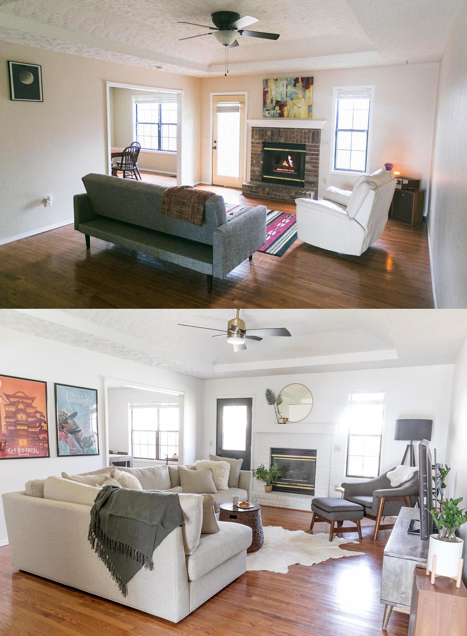 Here Is A Before And After Look Of The Living Room We Painted Walls Whisper White Which Same Color Elsie I Pennys When