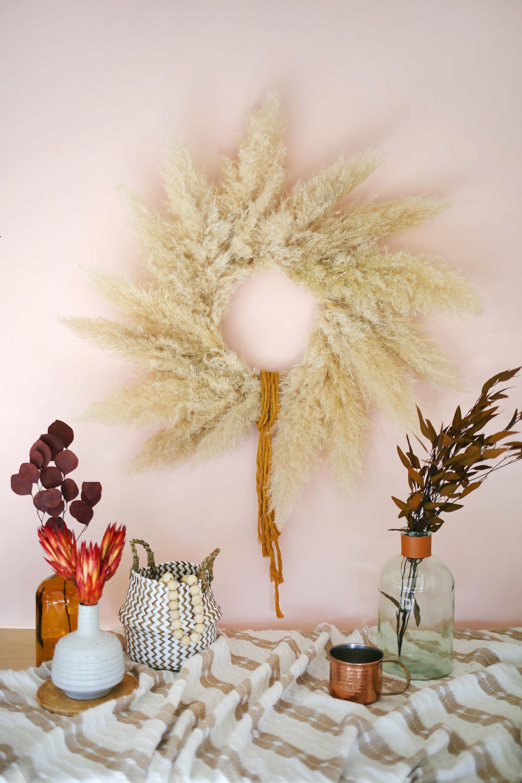 Pampas Grass Wreath DIY, Wustoo