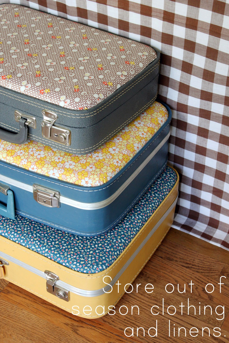 Fabric-Covered Suitcases | DIY Ways To Upcycle Vintage Suitcases | vintage suitcase