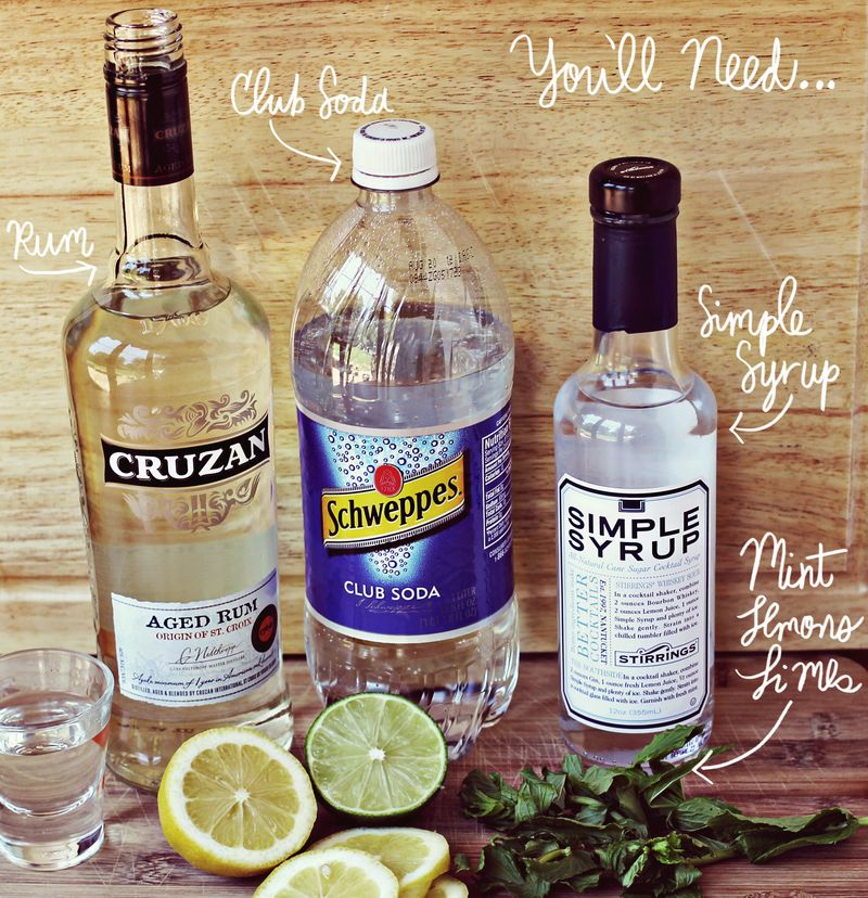 Classic mojito supplies