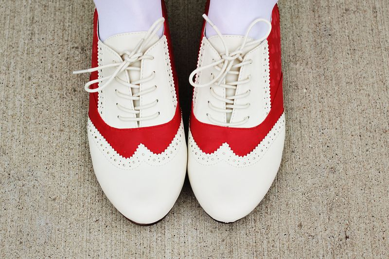 Red saddle shoes 3