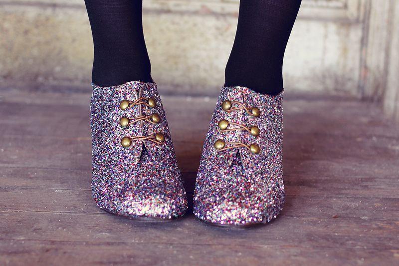 Glitter booties via A Beautiful Mess