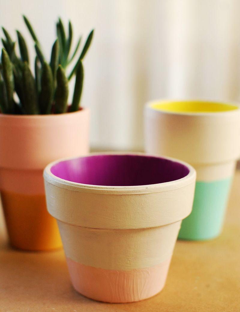 Color block terra cotta pots 1