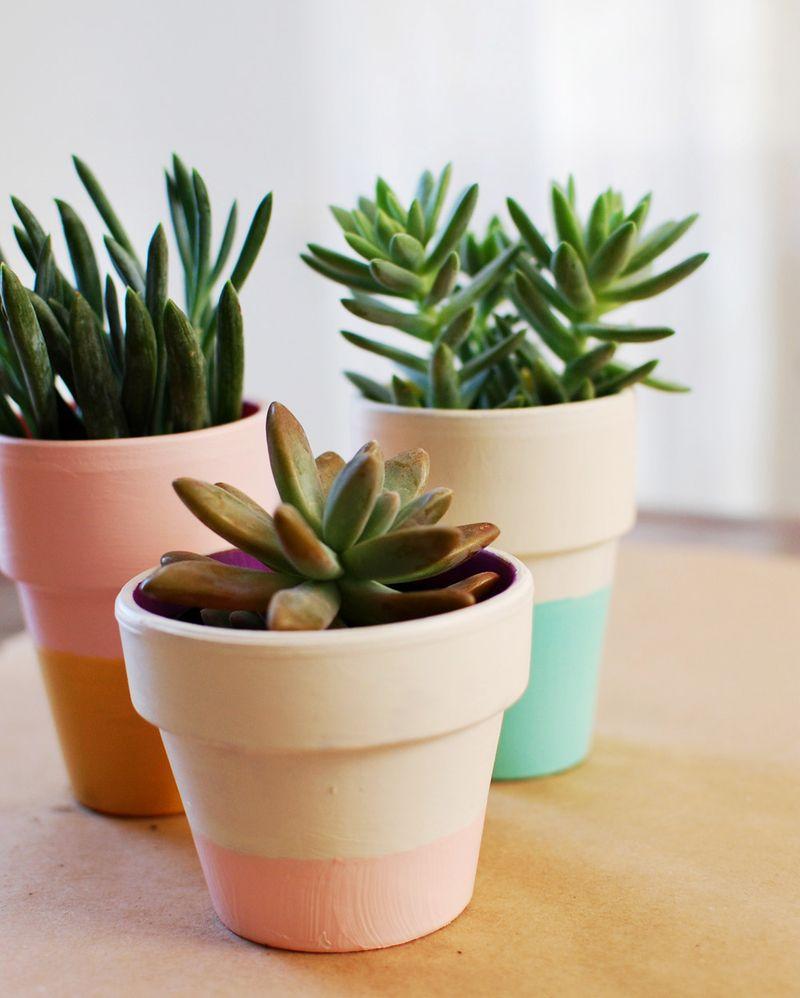 Color block terra cotta pots 4