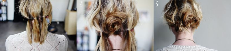 Three twist bun - collage