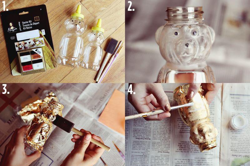 Golden Honey Bear Vase Steps