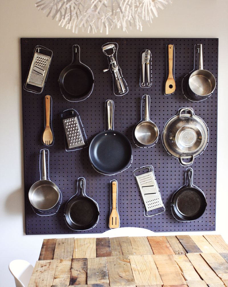 Diy pots and pans pegboard