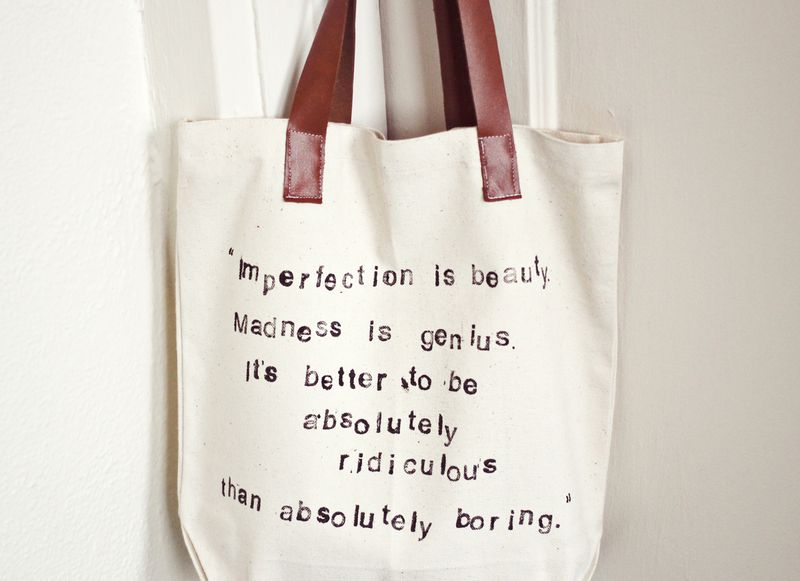 Hand Stamped Quote Tote Bag
