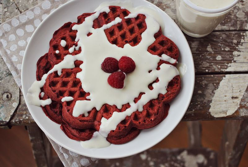 Red velvet waffles with cream cheese frosting