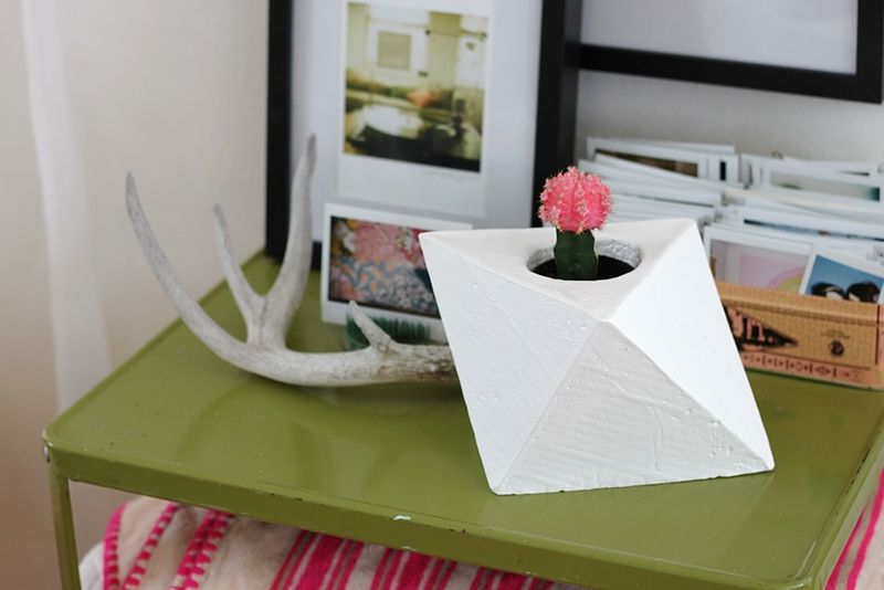 Geometric Plaster Planter DIY