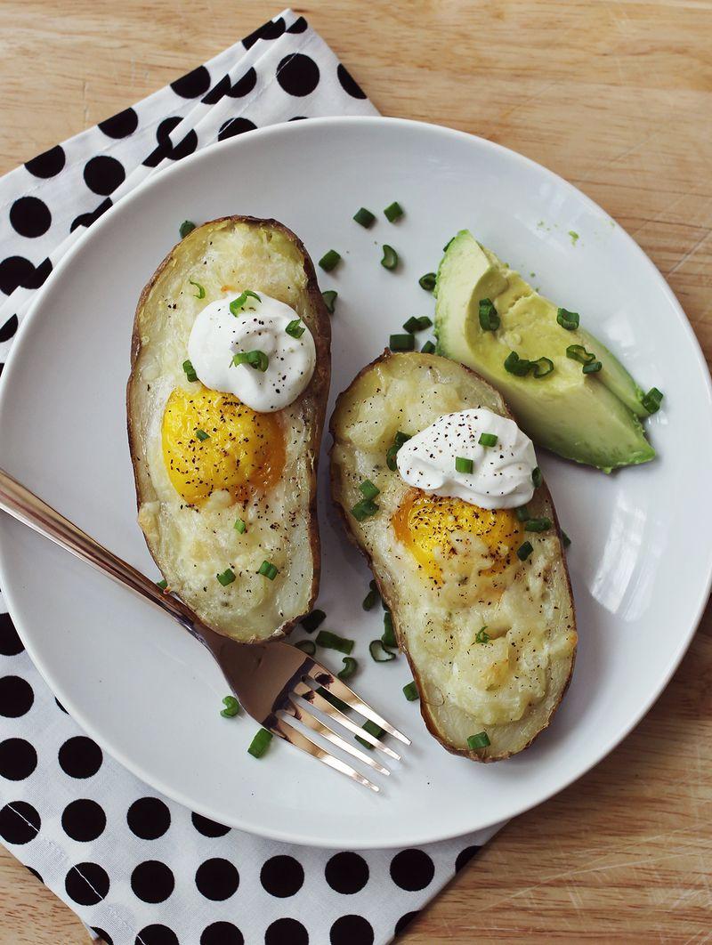 Savory breakfast idea-twice baked poatotes