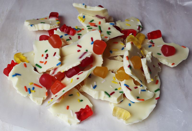 White chocolate candy bark