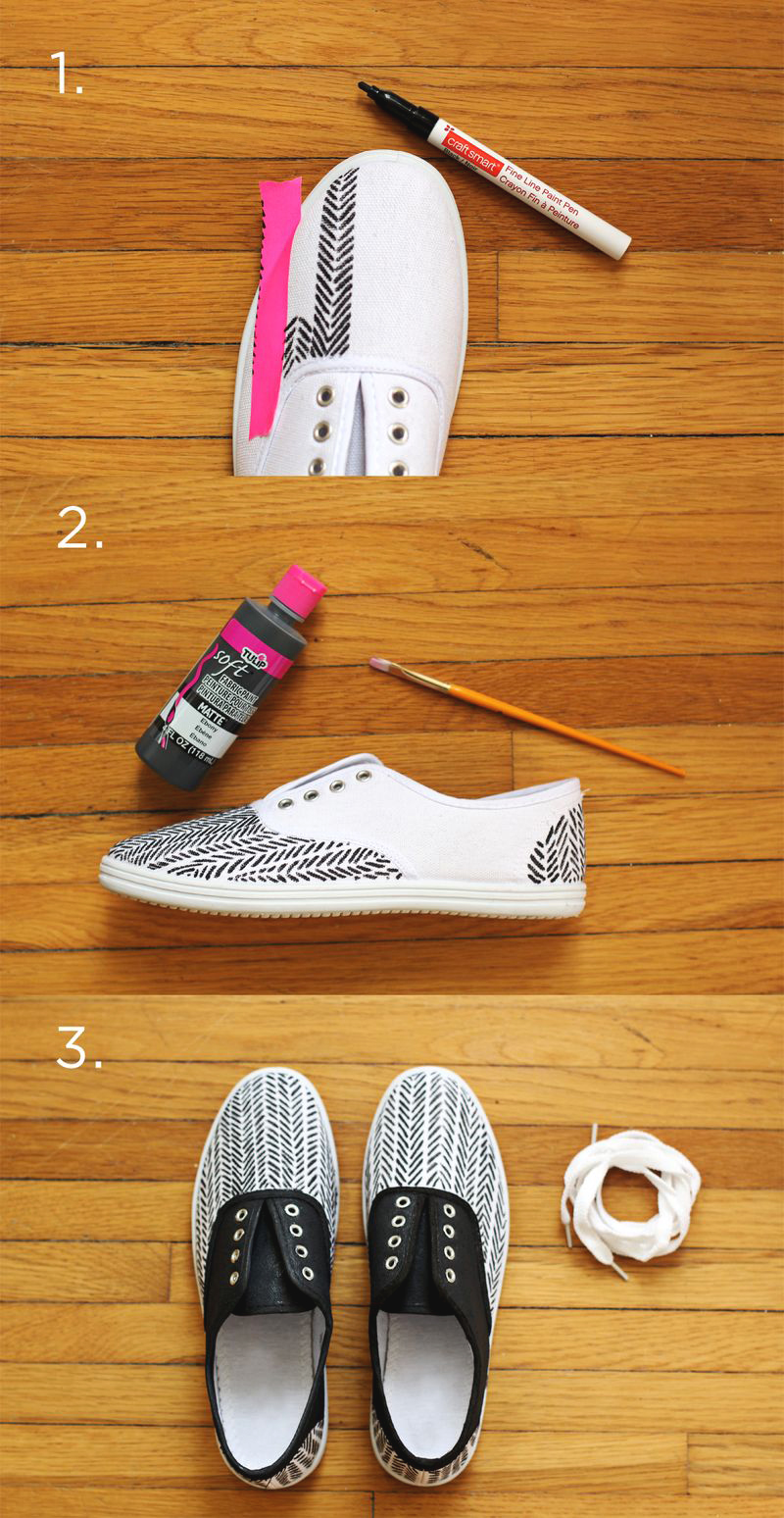 DIY Herringbone Sneakers