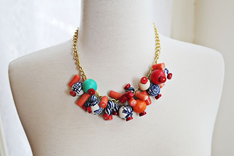 DIY Simple Statement Necklace- super simple!