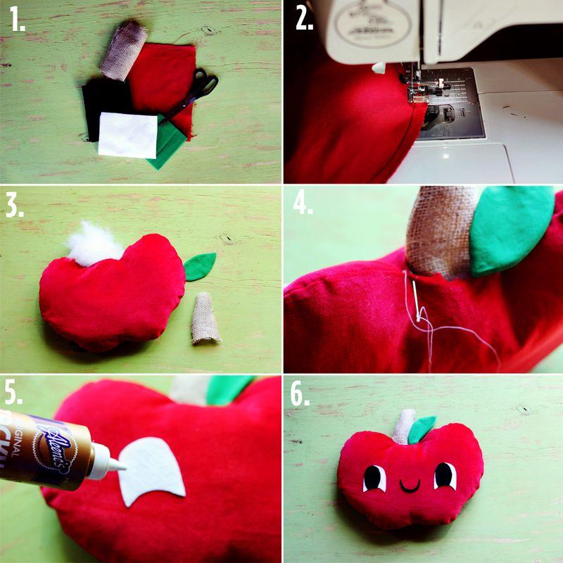 Apple Plush Pillow Steps