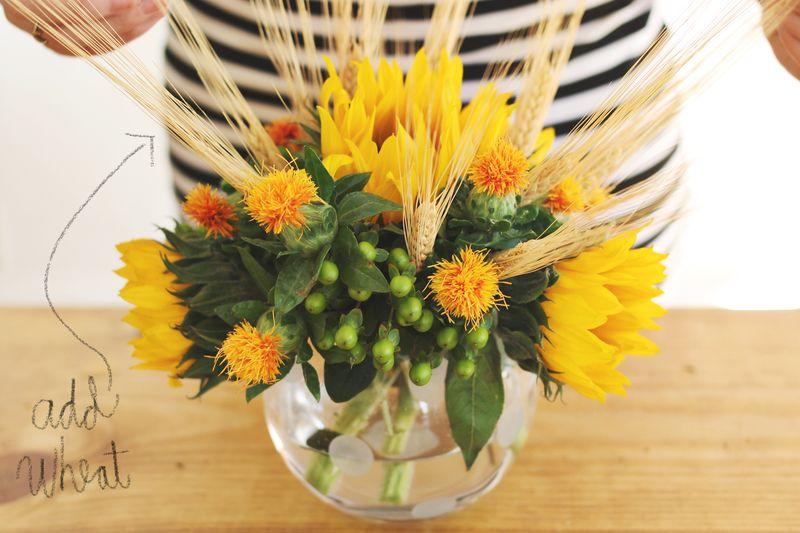 Add wheat to Autumn floral arrangements