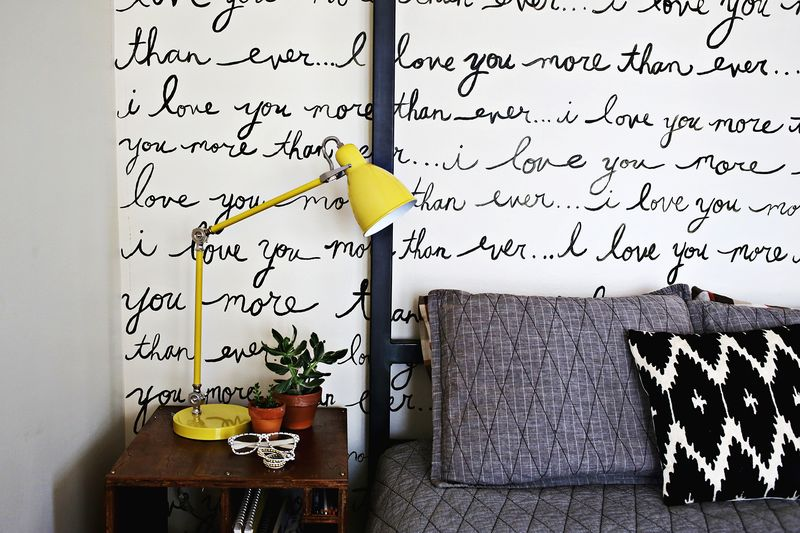 Hand painted bedroom wall (A Beautiful Mess)
