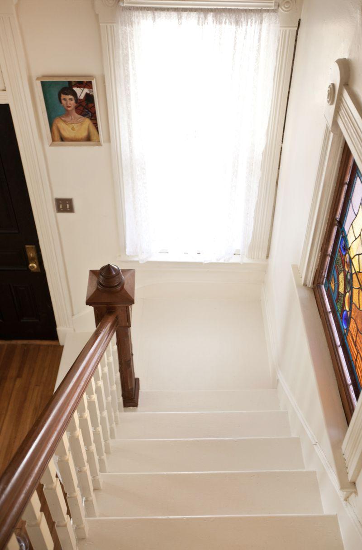 A bright white stairway!