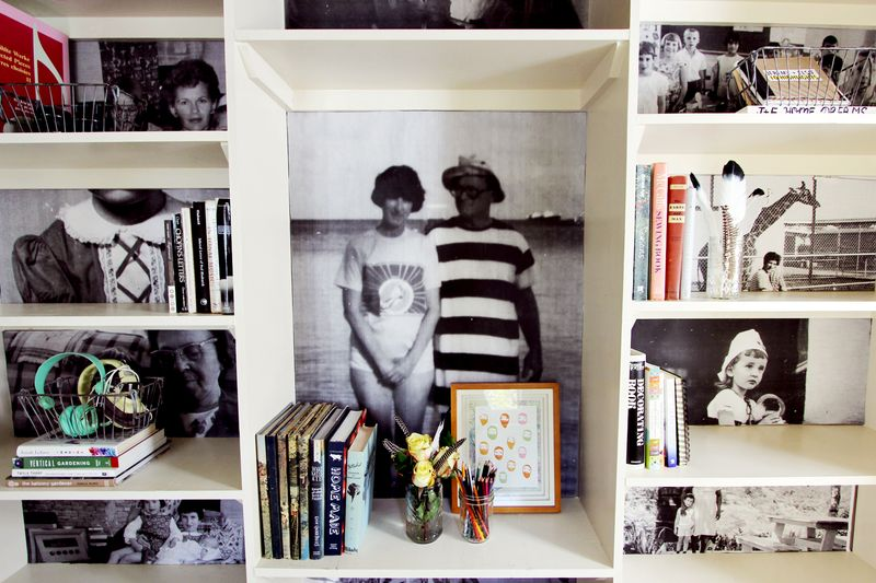 Family Photo Book Shelves (by A Beautiful Mess)