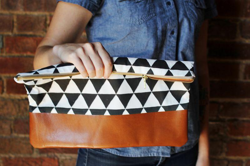 Cotton + Leather Clutch DIY