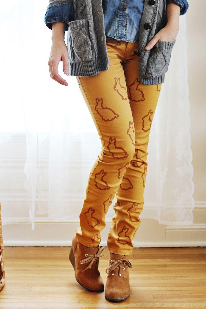 Animal stencil jeans diy